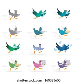 Pigeon Bird Courier, Pizza And Letter Delivery - Isolated On White Background - Vector Illustration, Graphic Design Editable For Your Design.