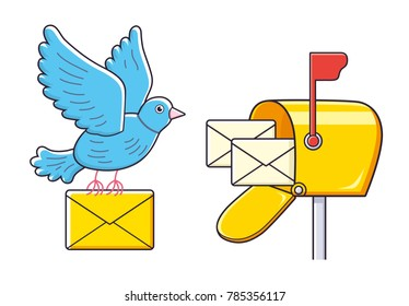 Pigeon bird flying with an envelope and open mailbox with letters isolated