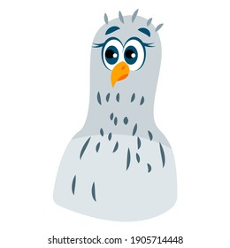 Pigeon bird head. Green and gray dove. Blue eyes. Yellow beak and legs. Flat cartoon character design. Cute and funny. Isolated on white. Colorful icon. For kids stickers, post cards and posters