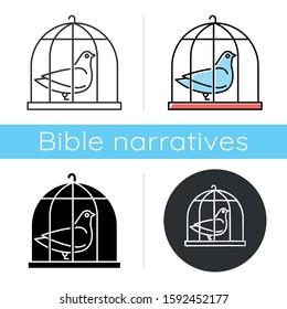 Pigeon in cage icon. Captive bird. Harbinger of peace. Nightingale in captivity. Bible narrative. Christian symbol of purity. Flat design, linear and color styles. Isolated vector illustrations