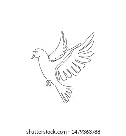 Pigeon or dove, bird flying continuous line drawing, tattoo, print for clothes and logo design, silhouette one single line on a white background, isolated vector illustration.