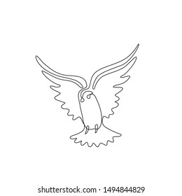 Pigeon or dove, bird flying continuous line drawing, tattoo, print for clothes and logo design, one single line on a white background, isolated vector illustration.