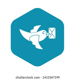 Pigeon fly with mail icon. Simple illustration of pigeon fly with mail vector icon for web