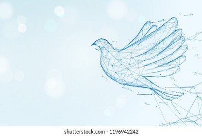 Pigeon flying form lines, triangles and particle style design. Illustration vector