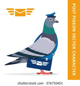 Pigeon postman vector character color illustration pigeon postman with blue hat and bag logo mail envelope wings