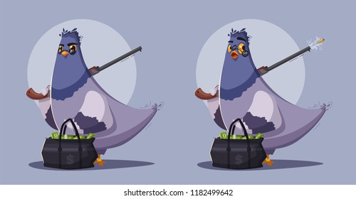 Pigeon a robber. Thug life. Cartoon vector illustration. Theft money. Criminal character. Thief bird