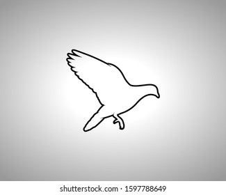 Pigeon Silhouette on White Background. Isolated Vector Animal Template for Logo Company, Icon, Symbol etc