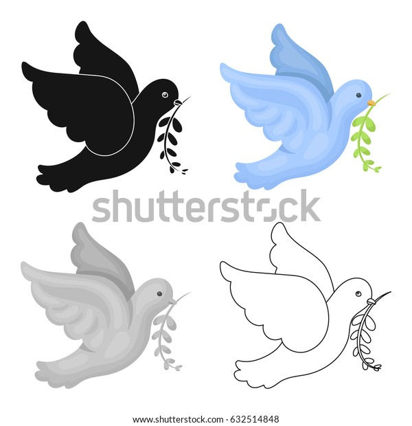 Pigeon of the World with a twig in its beak.Hippy single icon in cartoon style vector symbol stock illustration web.