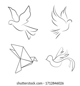 pigeons in different styles. cute doves