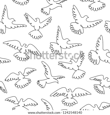 Pigeons Fly Line Drawing Flock Flying Stock Vector Royalty Free