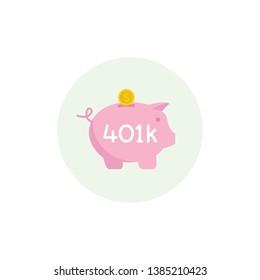 Piggy bank 401k pension plan in a circle - vector icon