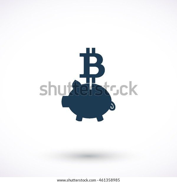 Piggy bank with bit coin vector icon. Graphic symbol for web design, logo. Isolated sign on a white background.
