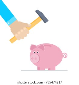 Piggy bank broken with hammer. Flat style vector illustration.