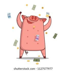 Piggy bank character under money rain. Vector flat cartoon illustration