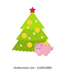 Piggy Bank at the Christmas tree, coins decoration. Vector illustration