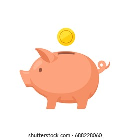 Piggy bank with coin. Icon of accumulation or saving money. Concept of investment, business or banking services. Simple vector illustration in flat style isolated on white background. Design element.