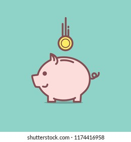 Piggy bank with coin illustration web banner background
