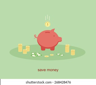 piggy bank and coin. save money concept business flat design vector illustration