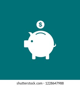 Piggy bank with coin vector icon. piggy bank illustration icon for web and mobile app