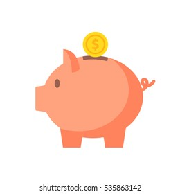 Piggy bank with coin vector illustration. Icon saving or accumulation of money, investment. Icon piggy bank in a flat style, isolated from the background. The concept of banking or business services.