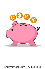 Piggy bank and coins of different currencies. Cartoon style.