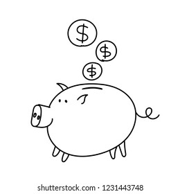 Piggy bank coins sketch. Bribe Pig with a document in the mouth