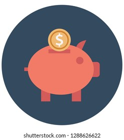 Piggy Bank Color Vector icon which can be easily modified or edit