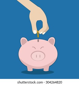 Piggy bank concept in flat design. Vector illustration.