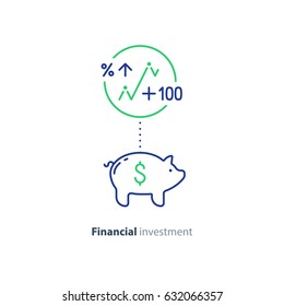 Piggy bank concept, long term investment, savings account deposit, pension fund money, financial planning, vector flat icon
