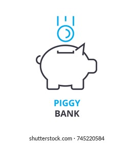 piggy bank concept , outline icon, linear sign, thin line pictogram, logo, flat illustration, vector