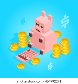 Piggy bank considers money. Eps 10.