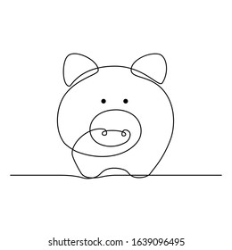 Piggy bank in continuous line art drawing style. Pig moneybox black linear sketch isolated on white background. Vector illustration