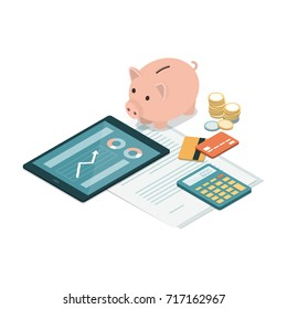 Piggy bank, credit cards, tablet, calculator and money on a financial contract: deposit, funds, savings and investments concept