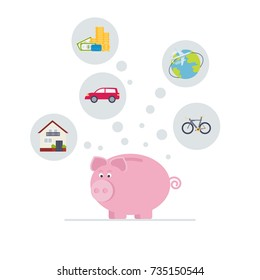 Piggy bank with dollar bills, house, car, bike, travel. Save money concept. Vector illustration. Flat style