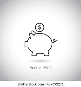 Piggy bank and dollar coin icon.