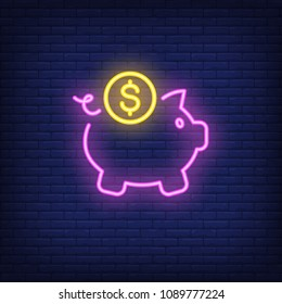Piggy bank with dollar coin. Neon sign element. Night bright advertisement. Vector illustration for business, finance, saving, money topics