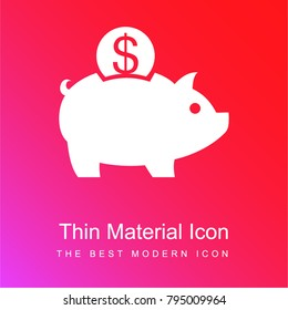Piggy bank and a dollar coin red and pink gradient material white icon minimal design