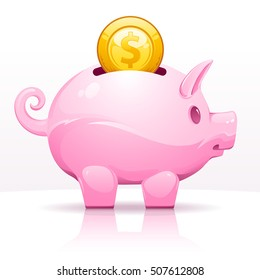 Piggy bank with dollar coin, vector illustration.