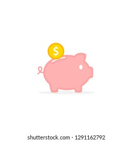 Piggy bank with falling coin. concept of saving money Investments in future. Isolated vector illustration piggy bank in flat style.
