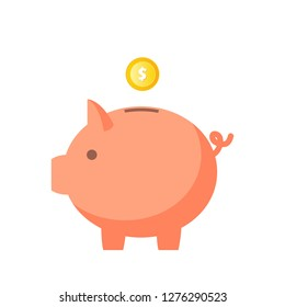 Piggy bank with falling coin vector illustration isolated on white background