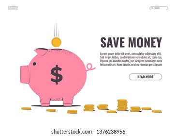 Piggy Bank with a falling gold coin. Save money. Vector illustration