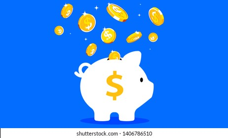 Piggy bank with falling gold coins. The concept of saving money. Vector illustration on blue background.