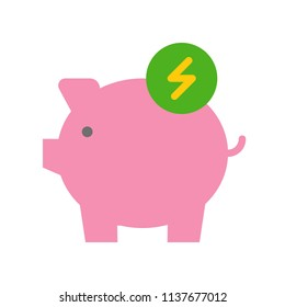 Piggy bank and flash sign, Flat icon saving energy and environmental concept