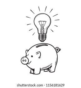 Piggy bank and glowing light bulb symbol of Inspiration. Invest in creativity and innovation. Saving creative ideas concept. Hand drawn vector illustration isolated on white background.