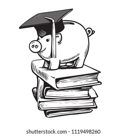 Piggy bank in Graduation hat on stack of books. Saving plan for education, student loan, financial aid concept. Hand drawn sketch style vector illustration isolated on white background
