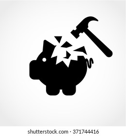 Piggy bank and hammer Icon Isolated on White Background