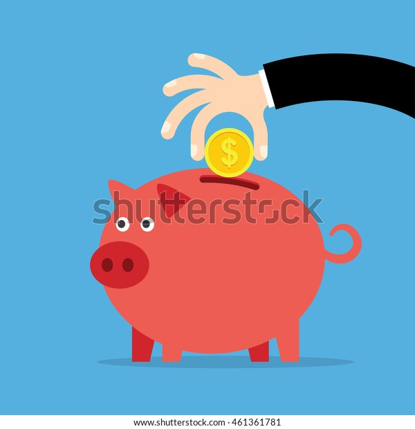 Piggy bank and hand with coin, a blue background. Vector illustration