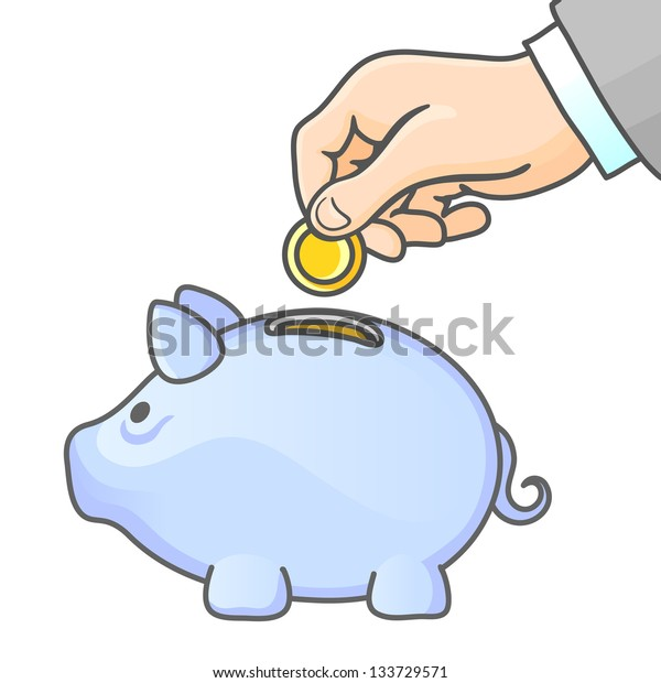 Piggy bank and hand with coin. Vector illustration.