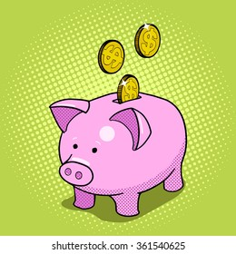 Piggy bank hand drawn pop art style vector illustration. Comic book style imitation