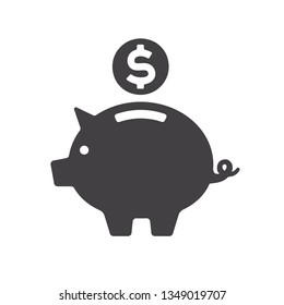 Piggy bank icon. Black silhouette isolated on white background. Save money. Make deposit. Dollar coin falling into piggy bank.